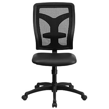 Flash Furniture WL-F062SYG-LEA-GG LeatherSoft High-Back Armless Task Chair, Black