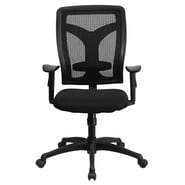 Flash Furniture Padded Fabric Designer High-Back Swivel Task Chair With Adjustable Arms, Black