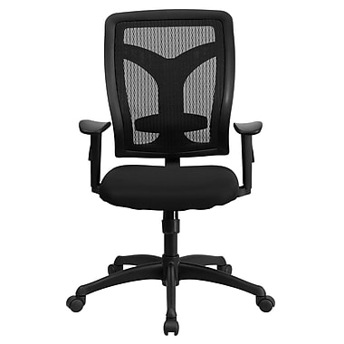 Flash Furniture WL-F062SYG-MF-A-GG Fabric High-Back Task Chair with Adjustable Arms, Black