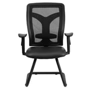 Flash Furniture WL-F065V-LEA-A-GG LeatherSoft Side Chair with Adjustable Arms, Black