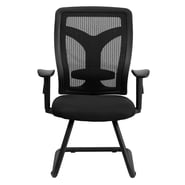 Flash Furniture Padded Mesh Side Chair With Adjustable Height Arms, Black