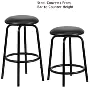 Flash Furniture 29 Leather Backless Dual Height Counter/Bar Stool, Black