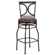 Flash Furniture 29 Leather Bar Stool With Half-Circle Designer Back, Brown
