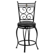 Flash Furniture 24 Leather Counter Height Stool With Scroll Designer Back, Black