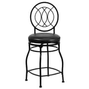 Flash Furniture 24 Leather Counter Height Stool With Oval Back, Black