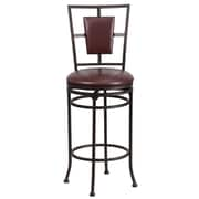 "Flash Furniture 29"" Leather Bar Stool With Padded Back, Brown"