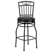 Flash Furniture 28 1/2 Leather Bar Stool With Decorative Designer Back, Black