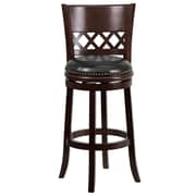 "Flash Furniture 30"" Leather Bar Stool With Lattice Back, Black/Cappuccino"