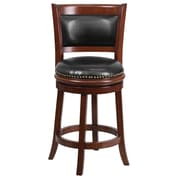 "Flash Furniture 25"" Leather Counter Height Stool With Panel Back, Black/Cherry"