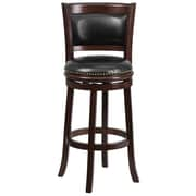 "Flash Furniture 30"" Leather Bar Stool With Panel Back, Black/Cappuccino"