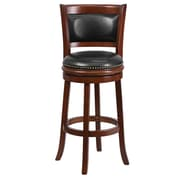 "Flash Furniture 30"" Leather Bar Stool With Panel Back, Black/Cherry"