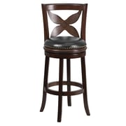 "Flash Furniture 30"" Leather Bar Stool With Designer Leaf Back, Black/Cappuccino"