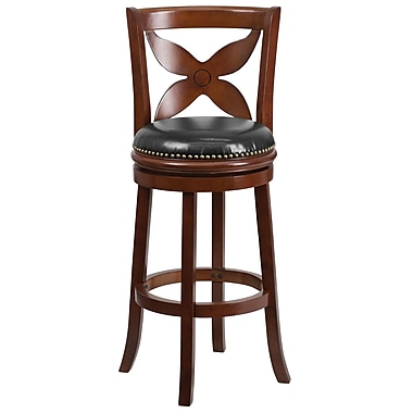 Flash Furniture 43'' Contemporary Foot Ring/Bar Leather Bar Stool, Black/Cherry (TA68129CHY)