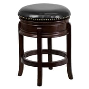 "Flash Furniture 25"" Leather Backless Counter Height Stool With Thick Banded Seat, Black/Cappuccino"