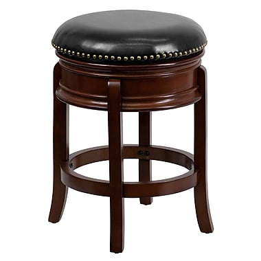 Flash Furniture 25'' Contemporary Foot Ring/Bar Leather Bar Stool, Black/Cherry (TA68824CHYCTR)