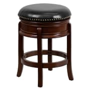 "Flash Furniture 25"" Leather Backless Counter Height Stool With Thick Banded Seat, Black/Cherry"