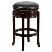 "Flash Furniture 30"" Leather Backless Bar Stool, Black/Cappuccino"