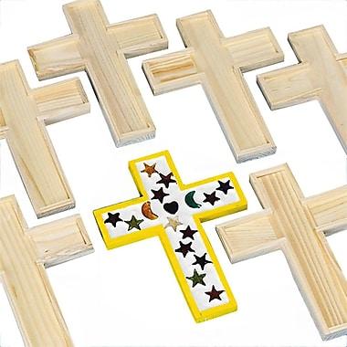 S&S® Unfinished Wooden Cross Tile Trivet, 6/Pack