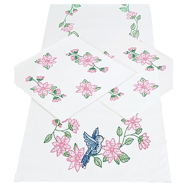 Stamped Dresser Scarf & Doilies Perle Edge
