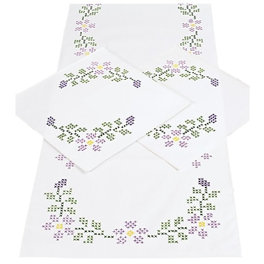 Stamped Dresser Scarf & Doilies Perle Edge, Starflowers