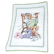 """Stamped Baby Quilt Top 36""""X50"""", Stork"""