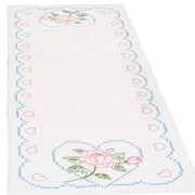 "Stamped Table Runner/Scarf 15""X42"", Rose & Hearts"