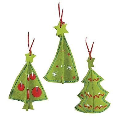 3-D Ornaments Felt Applique Kit, 3-1/2