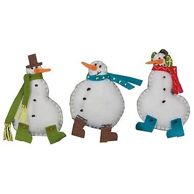 Simple Snowmen Ornaments Felt Applique Kit, 3