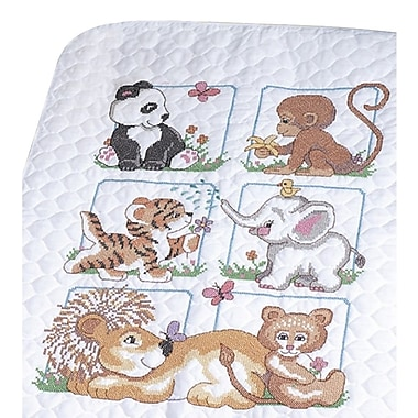 Animal Babies Quilt Stamped Cross Stitch Kit, 34