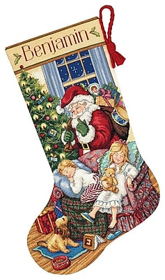"""""""""""Gold Collection Sweet Dreams Stocking Counted Cross Stitch Kit, 16"""""""""""""""" Long 18 Count"""""""""""" 31648"""