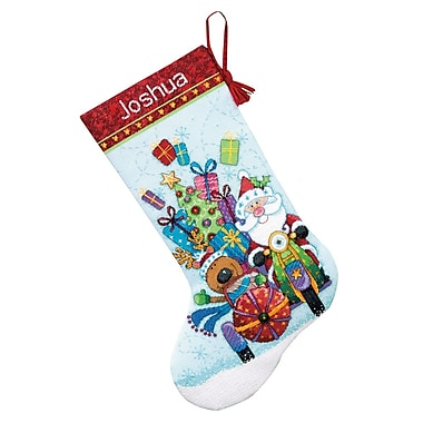 Santa's Sidecar Stocking Counted Cross Stitch Kit, 16