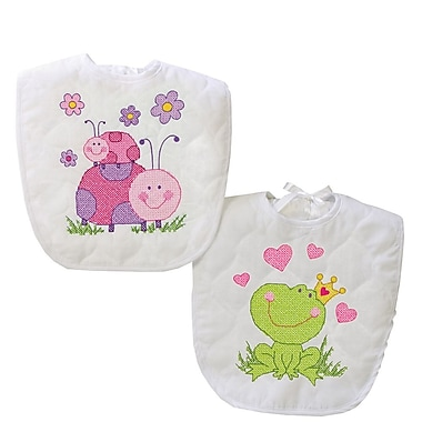 Baby Hugs Fairy Bibs Stamped Cross Stitch Kit, 9