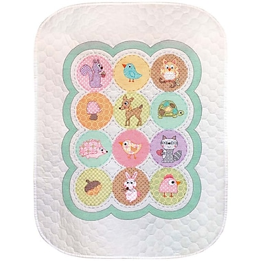 Baby Hugs Happi Woodland Quilt Stamped Cross Stitch Kit, 34