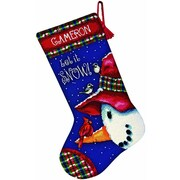 """Snowman Perch Stocking Needlepoint Kit, 16"""" Long Stitched In Wool & Thread"""