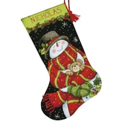 """Snowman & Bear Stocking Needlepoint Kit, 16"""" Long Stitched In Floss"""
