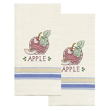 Stamped Kitchen Towels For Embroidery, Apple