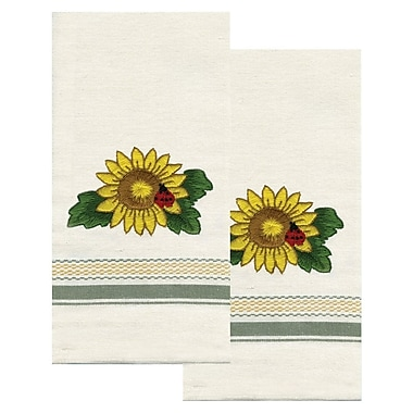 Stamped Kitchen Towels For Embroidery, Sunflower