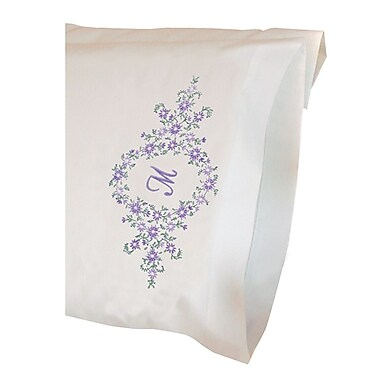 Daisy Monogram Pillowcase Pair Stamped Embroidery Kit, 20