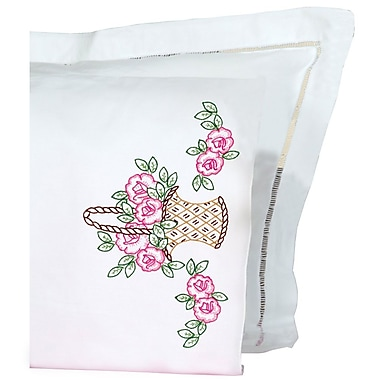 Stamped Pillowcases With White Perle Edge, Basket Of Flowers