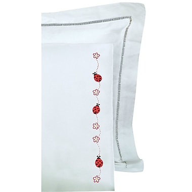 Children's Stamped Pillowcase With White Perle Edge, Ladybugs