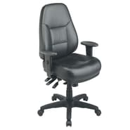 Office Star WorkSmart™ Leather Deluxe Multi Function High Back Chair, Black