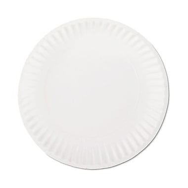 AJM Packaging Corporation® PP9GRAWH Dinnerware Plate, Paper, 1200/Carton
