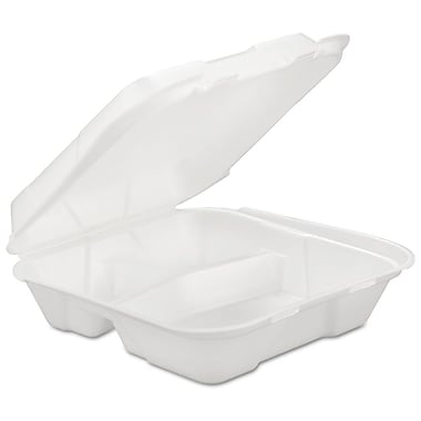 Genpak® HINGEDL3 Hinged Container, White, 3