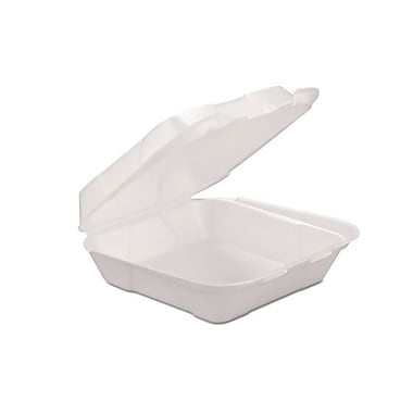 Genpak® HINGEDM1 Hinged Container, White, 3