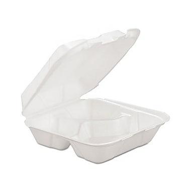 Genpak® HINGEDM3 Hinged Container, White, 3