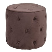Office Star Ave Six® Fabric Curves Tufted Round Ottoman, Port Velvet