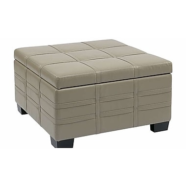 Office Star Ave Six® Eco Leather Detour Strap Ottoman with Tray, Cream
