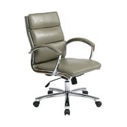 Office Star Work Smart™ Faux Leather Mid Back Executive Chair With Padded Arms, Smoke