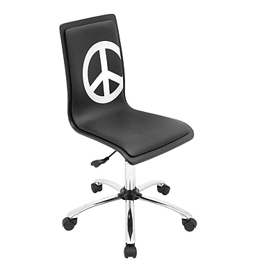 LumiSource Peace Fabric Computer and Desk Office Chair, Armless, Black/White (OFC-TM-PCBK)