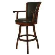 "Pastel Glenwood 26"" Leather Swivel Counter Stool With Arm, Brown"